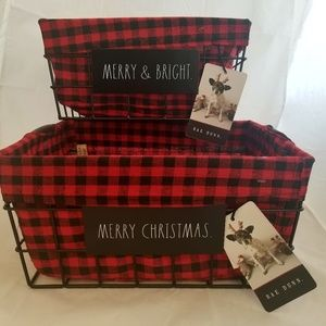 Rae Dunn Red Black Buffalo Check Plaid Baskets